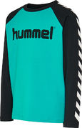 hmlBOYS T-SHIRT/LS, BLACK/LAKE BLUE